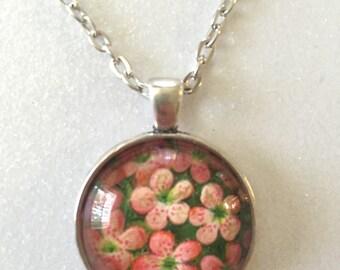 Flower pendant necklace - Vintage postcard