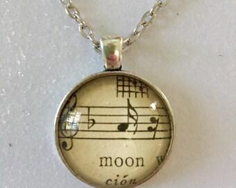 "Sheet music  ""moon"" pendant necklace"