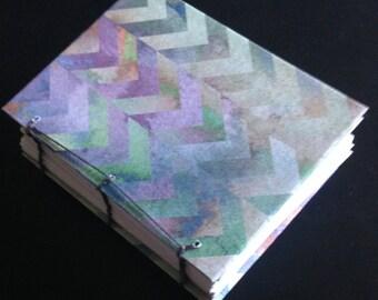 Coptic Bound Sketchbook, Multi-Color Chevron Cover