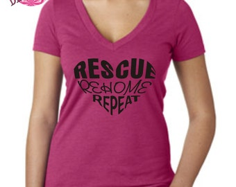 Rescue Rehome Repeat Adult t shirt , cat rescue shirt, animal rescue shirt , Crazy Cat shirt, unisex tshirt,  meow cat, cat shirt