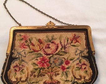 1920's petit point evening purse, European made