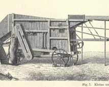 1894 Antique Threshing Machine Engraving German Lithograph Original
