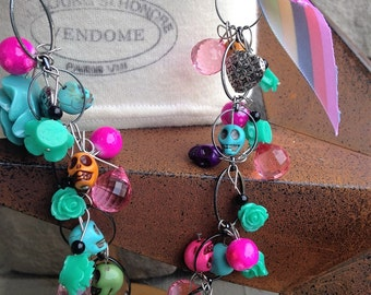 Day of the Dead and Candy Inspired Charm Necklace