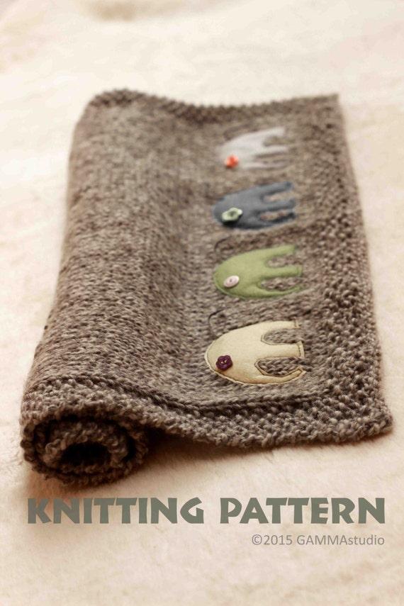 Knitting Pattern Baby Blanket Elephant : Baby blanket KNITTING PATTERN Knitting elephant by GAMMAkids