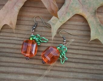 Pumpkin Earrings ~Fall earrings ~ Autumn Earrings  ~ Orange Earrings ~ Pumpkin and Leaves ~OOAK
