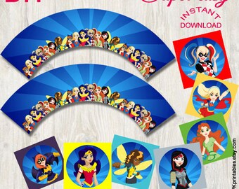 Superhero Girls cupcake wrappers & toppers | Girls superheroes-Instant Download-DIY Printable. Matches superhero invitation.By DPKPrintables