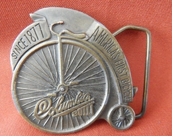 Columbia Bicycle Brass Buckle Vintage 1974