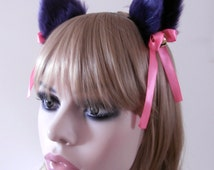 Faux Fur Cat Ear Hair Clips Purple Black With Bells and Pink Satin Ribbon Bow Neko Kitty Kawaii Soft High Quality Gothic Headband Handmade