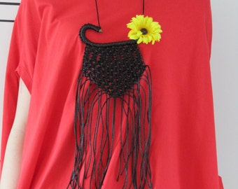 FREE SHIPPING / Handmade Black Necklace / Macrame / Necklace With Flower / Gift Idea by FabraModaStudio / A920