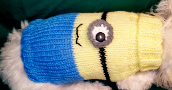 Items similar to Minion Knitted Dog Sweater on Etsy