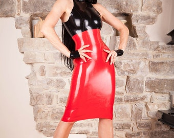 Long LaTeX pencil skirt ready to ship in black S, M, L