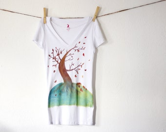 Tree in the wind  blowing tree handpainted shirt for woman