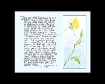 """Butterfly Art and Poem """"New Beginning"""" ~ Signed Giclee Art Print ~ Original Poem and Illustration ~ Colored Pencil Art with Hand-Lettering"""