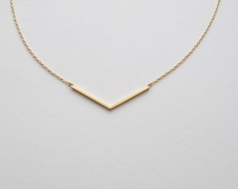 20% OFF Chevron Necklace, Dainty Minimal Chevron Necklace, Simple Geometric Layering Necklace in Sterling Silver #D48