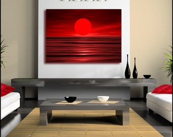 Red Ruby Sunset Canvas Wall Art Print Large single Canvas (FRAMED>UK ONLY)Poster or Box Framed Contemporary Modern!