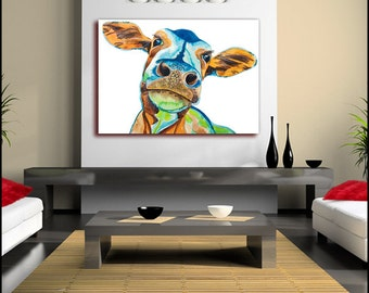 Cow Abstract Painting Canvas Wall Art Print (FRAMED>UK ONLY)Large single Canvas Poster or Box Framed Sophisticated Contemporary