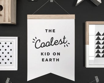 Coolest kid banner, hanging banner, wall hanging, wall banner, banner, wall, wall decor, nursery art, nursery decor, kid decor