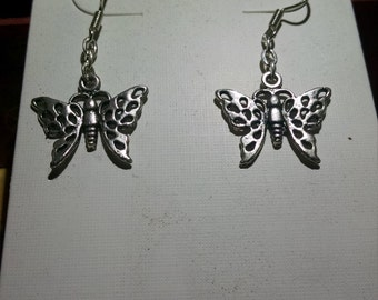 Silver cut-out butterfly earrings