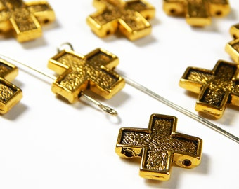 10 Pcs - 15x15mm Gold Tone 2 Hole Cross Spacer Beads - Double Hole Beads - Metal Spacer Beads - Jewelry Supplies