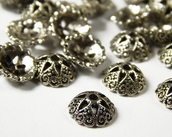 10 Pcs - 15x5mm Tibetan Silver Bead Caps - Silver Bead End Caps - Jewelry Supplies D4