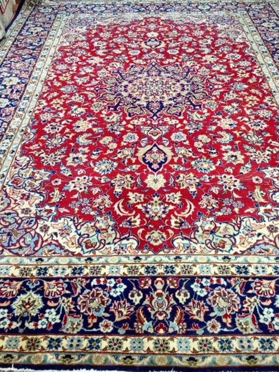 "10'1"" x 13'1"" Persian Najafabad Isfahan Oriental Rug - 1960s - Hand Made - 100% Wool - Vintage"