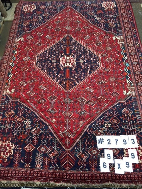 "6'9"" x 9'9"" Persian Qashqai Shiraz Oriental Rug - Hand Made - Very Fine - 100% Wool"