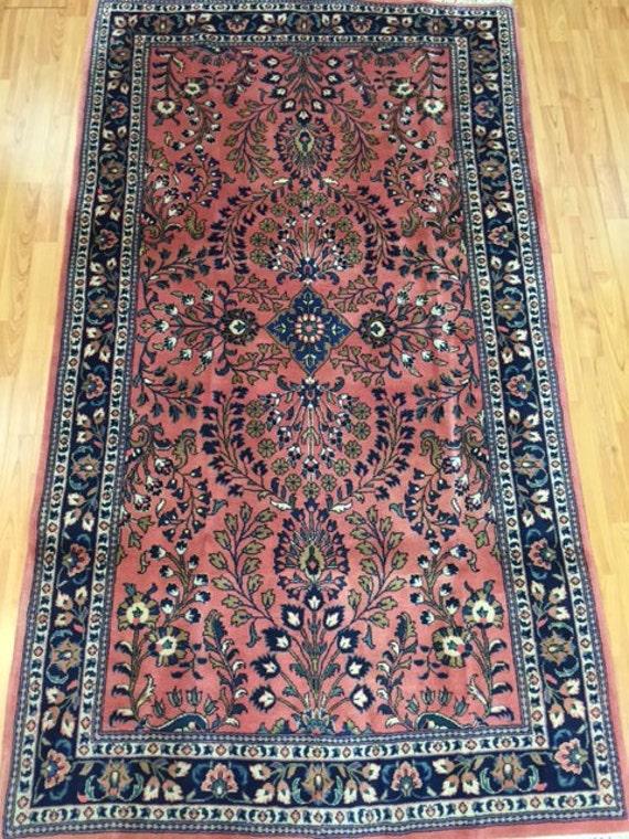 "4'1"" x 7'4"" Persian Sarouk Oriental Rug - Hand Made - 100% Wool Pile"