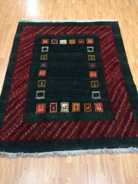 "5' x 6'3"" Persian Gabbeh Oriental Rug - Hand Made - 100% Wool - Fine"