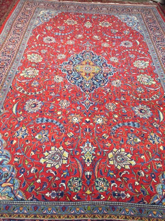 "7'9"" x 11'8"" Persian Sarouk Oriental Rug - 1980s - Hand Made - 100% Wool - Vintage"