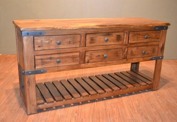 Solid Wood Sofa Table ~ Rustic solid wood sideboard buffet console table sofa