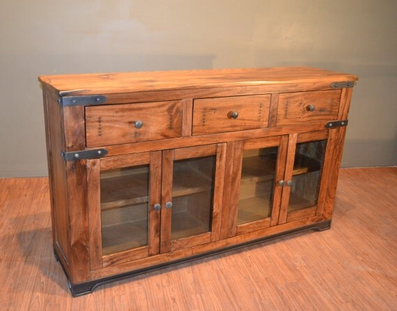 Rustic solid wood sideboard buffet console table media tv