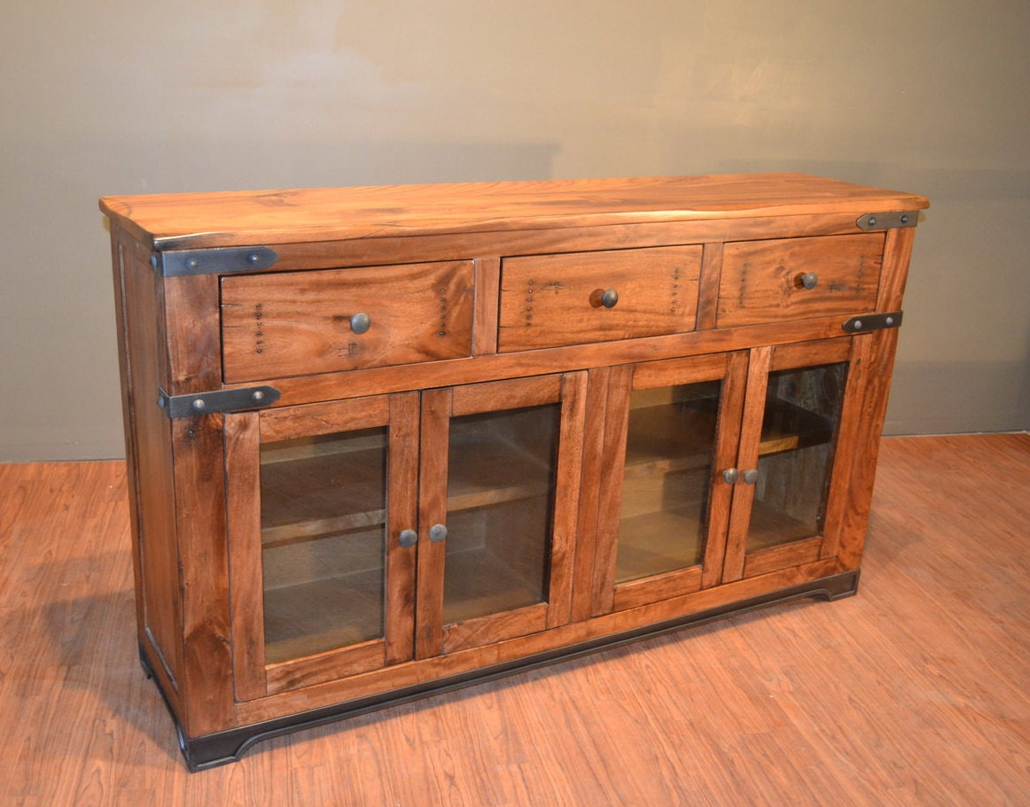 Rustic Solid Wood Sideboard Buffet  Console Table  Media TV -> Wood Tv Sideboard