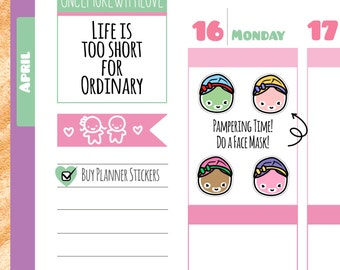 Munchkins - Pampering Time Face Mask Planner Stickers (M145)