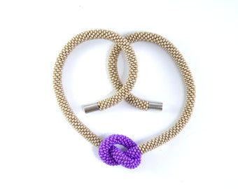 Seed bead crocheted necklace / Beaded rope / Violet and biege choker / OOAK necklace / Necklace with a knot