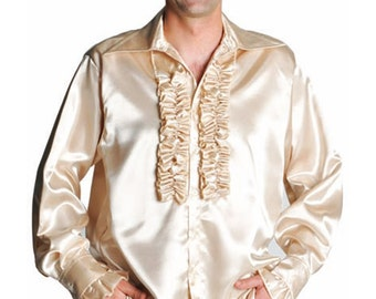 70's Satin Frill Front Shirt - Champagne
