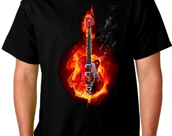 Flaming Guitars Black T Shirt Electric or Acoustic