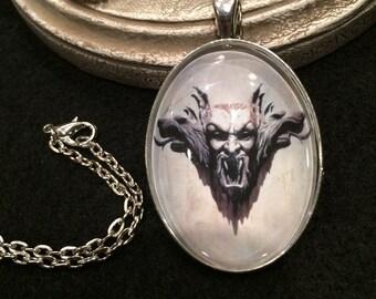 Braham Stoker's Dracula Bronze or Silver Pendant Necklace Dracula Vampire Gargoyle Gothic Horror