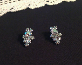 Vintage Aurora Borealis Rhinestone Earrings - Clip On