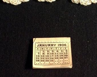 Vintage Miniature Dollhouse Calendar - 1906
