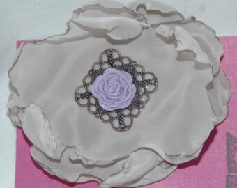 Handmade Grey Floral Clip.