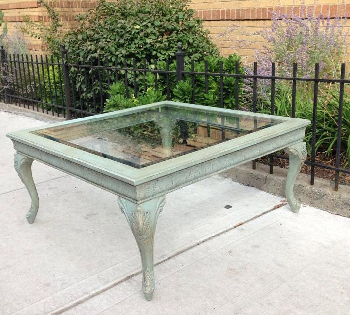 Gold Shabby Chic Coffee Table: Duck Egg Blue Coffee Table With Beautiful Carvings And