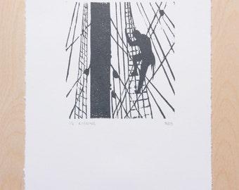 Rigging – Woodcut, Original Print