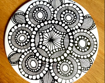 Large Circular Zen Doodle Pocket Mirror