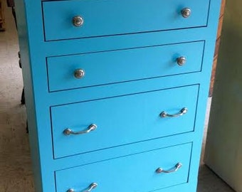 Aqua blue and antique white painted chest of drawers, Bedroom Dresser, Modern Chest of Drawers
