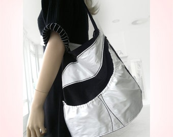 Black White Shopping Bag, Shoulder Bag, Cord Bag, Handbag, Hobo Bag