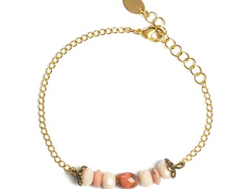 Old elegant bracelet pink and Golden