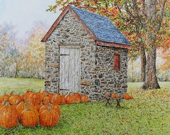 Pumpkin Painting - Fall Painting - Landscape Print - Country Art - Matted Print