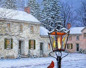 Winter Art - Snow Painting - Christmas Painting - Country Art - Matted Print