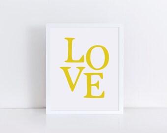 LOVE Print, Yellow Love Wall Art, Printable Typography Artwork, Golden Modern Wall Decor, Love Word Print, Digital Poster Print, Mustard