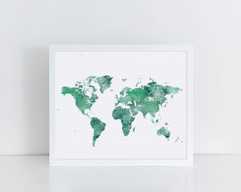 Aqua Blue World Map Art, Teal World Map Print, Minimalist Wall Decor, Minimalist Wall Art, Modern Art, Colorful Print, Affordable Art